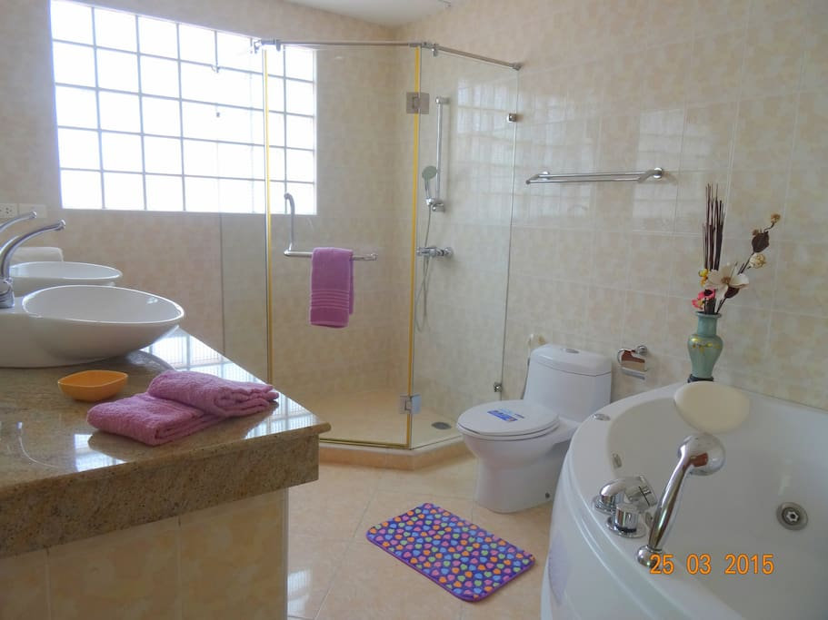 Master en suite bath with shower and jacuzzi