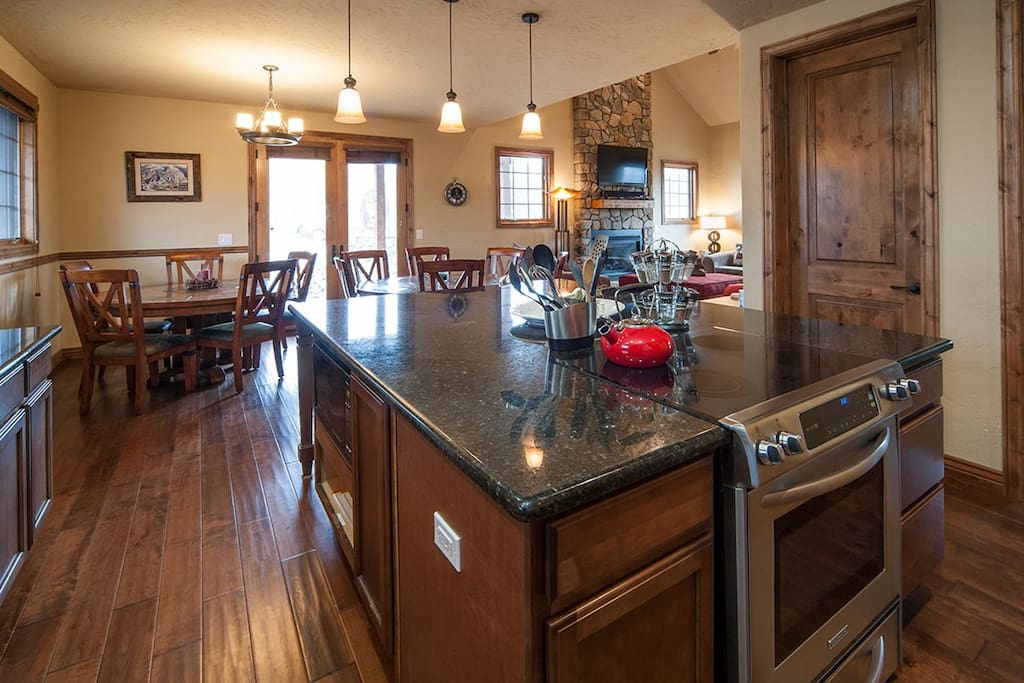 Open floor plan flows from kitchen to dining to family room!