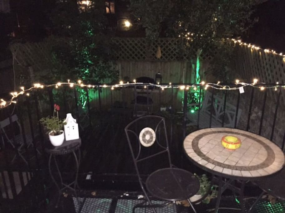 Outdoor terrace at night.