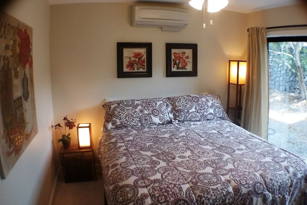 BR 2 King Size bed Ceiling fan, AC glass sliding door  to garden