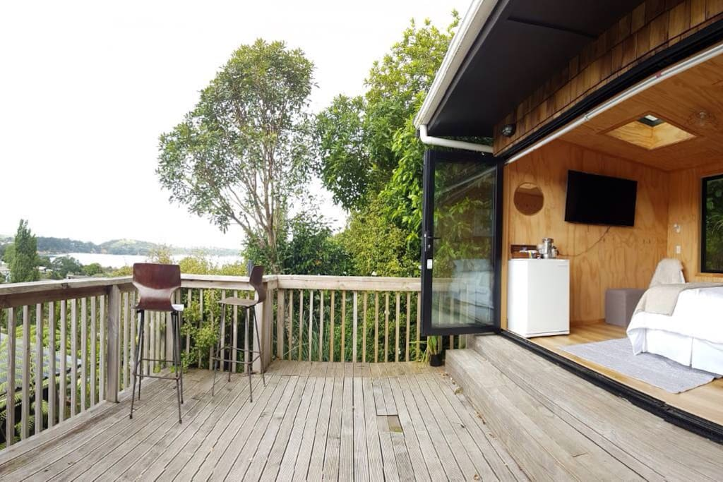 Private deck with great views over Huruhi Bay