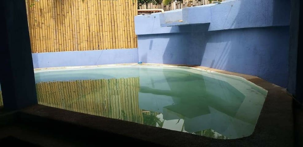 New Swimming pool with waterfall