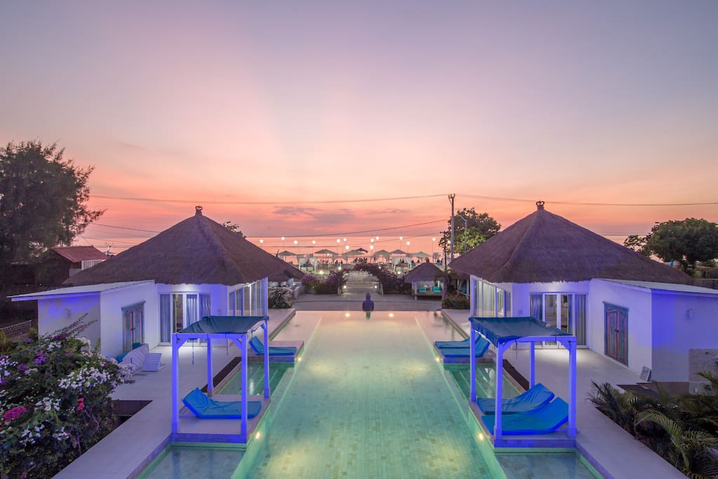 Villa Gili Bali Beach at the sunset