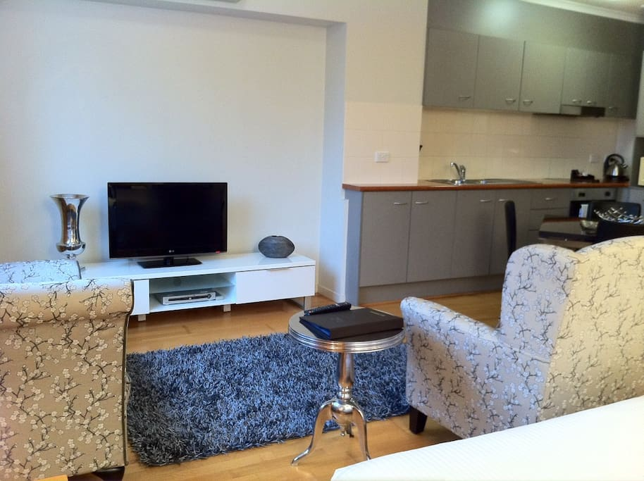 Typical Studio Apartment including kitchen and dining area including an en-suite bath and shower