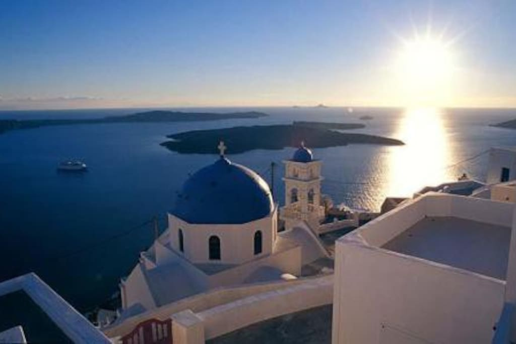 sunset in Fira (capital of Santorini) distance from Perissa 15