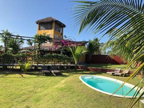 Casa-casa cubierta con piscina a 400 metros de la playa