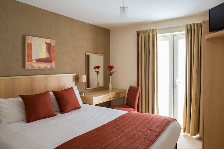 Master bedroom in a 2 bed apartment