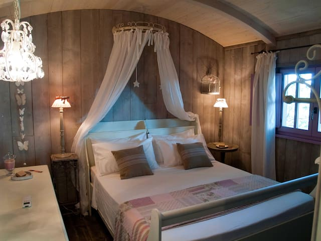 Romantic wooden lodge