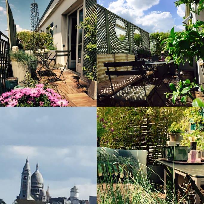 la terrasse ensoleilléé et calme   vue sur Montmartre