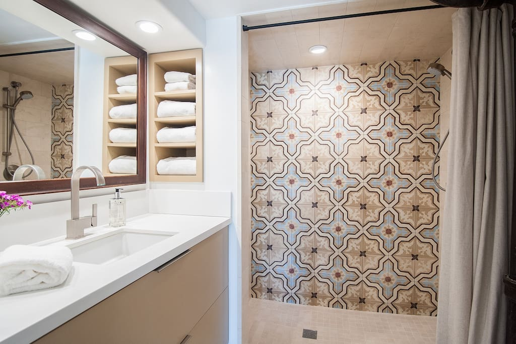 Downstairs bath with walk in shower.