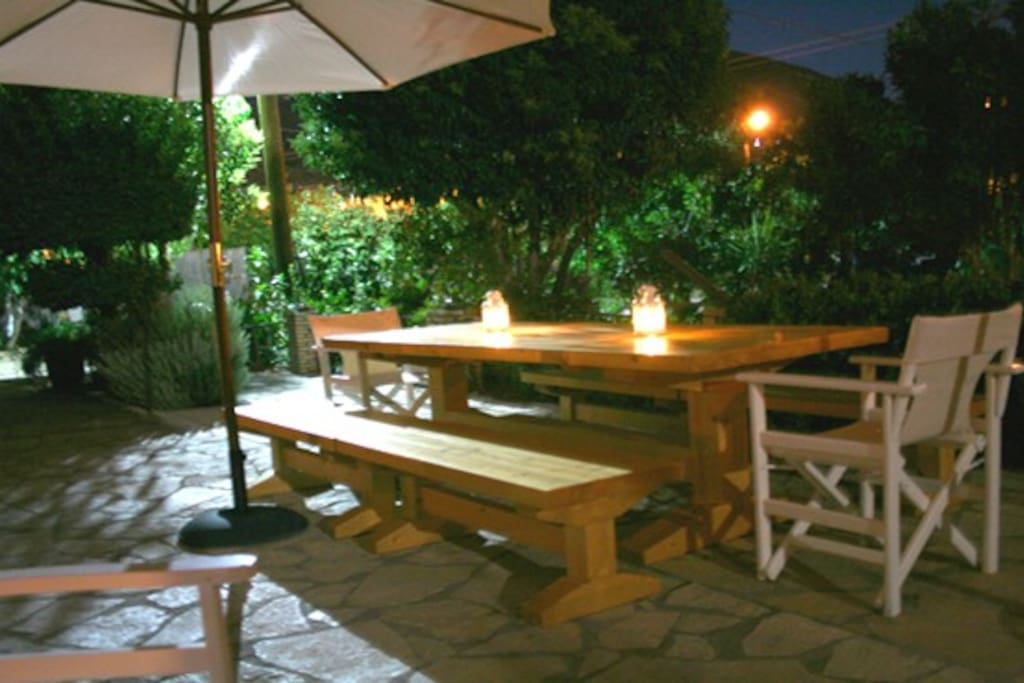 In front of the house is the sitting area tastefully furnished with a BBQ set with all the necessary equipment which is at the disposal of the guests while the dining area has two dinner tables for 12 guests.