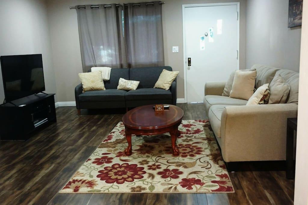 grey futon bed/ living room