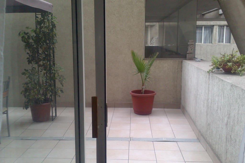 Acceso a la terraza desde el living.