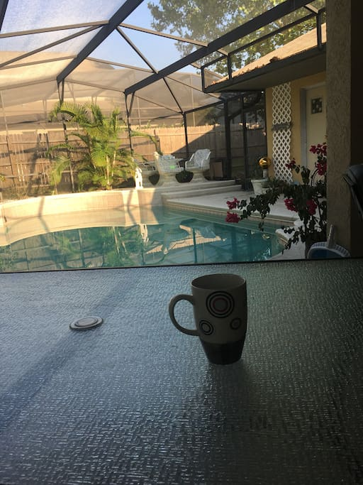 Enjoy a cup of coffee by the pool or just relax and read a book.