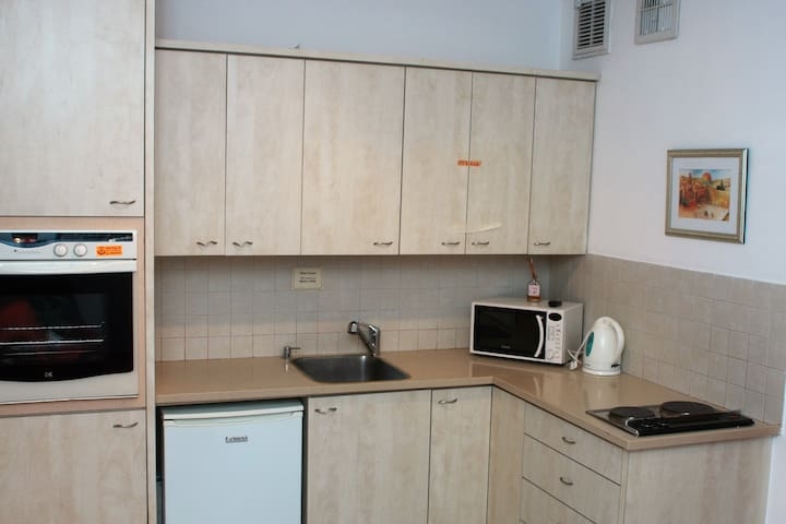 A delightful KOSHER kitchenette, with fridge, hob (burners), oven, microwave & washing machine
