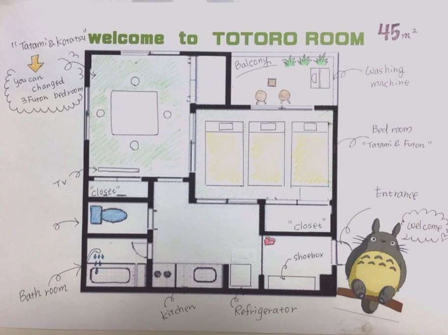 Big, 1bed room + 1kotatsu room(you can change bed room)+ 1 kitchen room Totally 45㎡