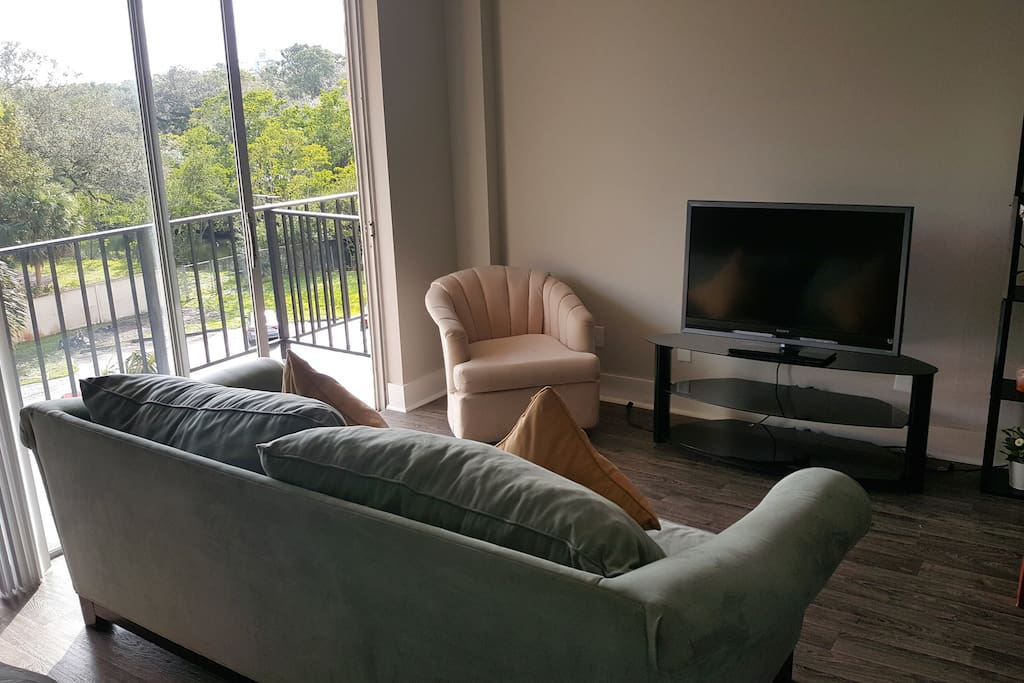 Flatscreen TV and Couch
