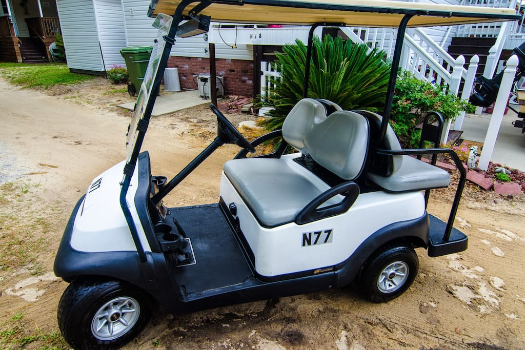 Golf cart is provided with cottage *at no extra cost*