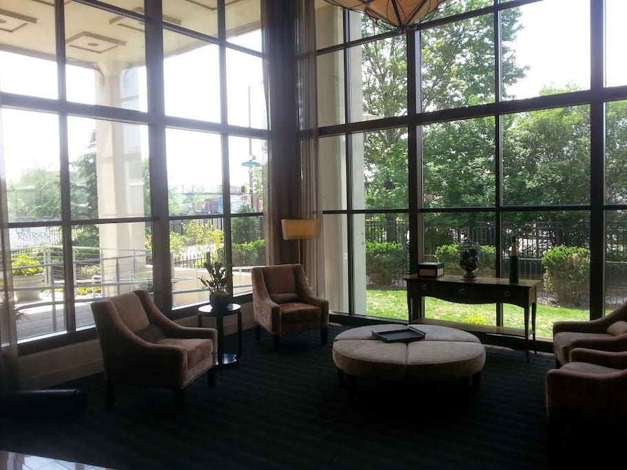 Lobby. Right outside is Markward Park which has a playground and tennis courts and the Schuylkill river.