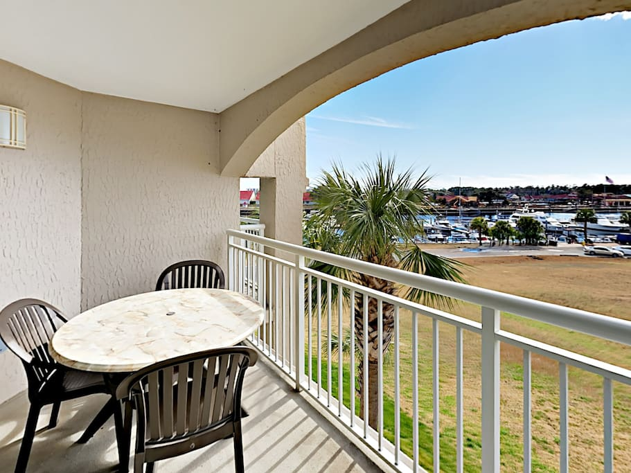 Watch boats float by on the Intracoastal Waterway from the private balcony.