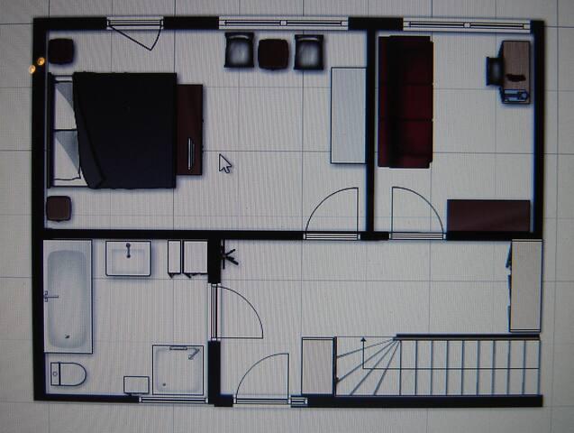 The plan of the private floor. / De plattegrond van de privé etage.