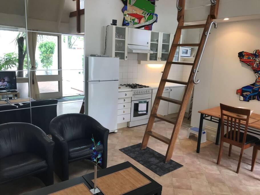 Stair to Loft bedroom. Kitchen, Mirror & Wardrobe.