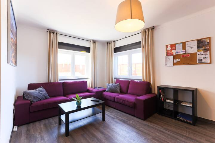 large, bright living room, comfy sofas, cable TV, wi-fi