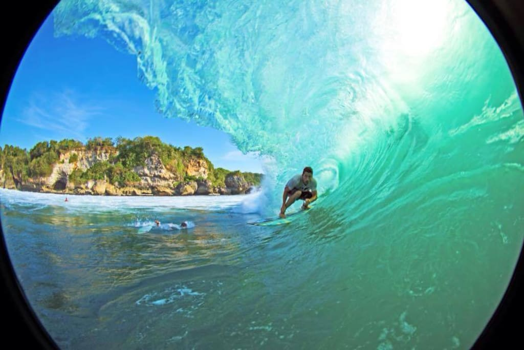 Getting Barrelled at Padang Padang