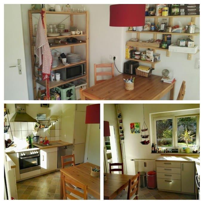 unsere Küche, die du auch mitbenutzen kannst. Voll ausgestattet!