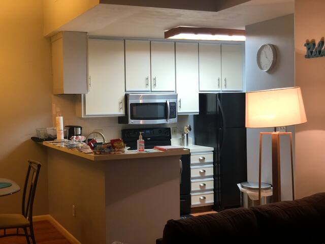 View of the kitchen.
