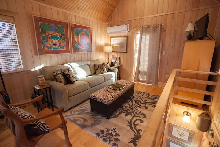 Second level of the cabin with king-size pull out sofa bed, large screen TV and balconies facing north and south.