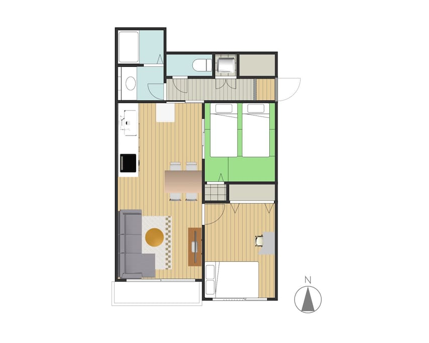 Floor plan: 60sqm is 2 separated provate apartment