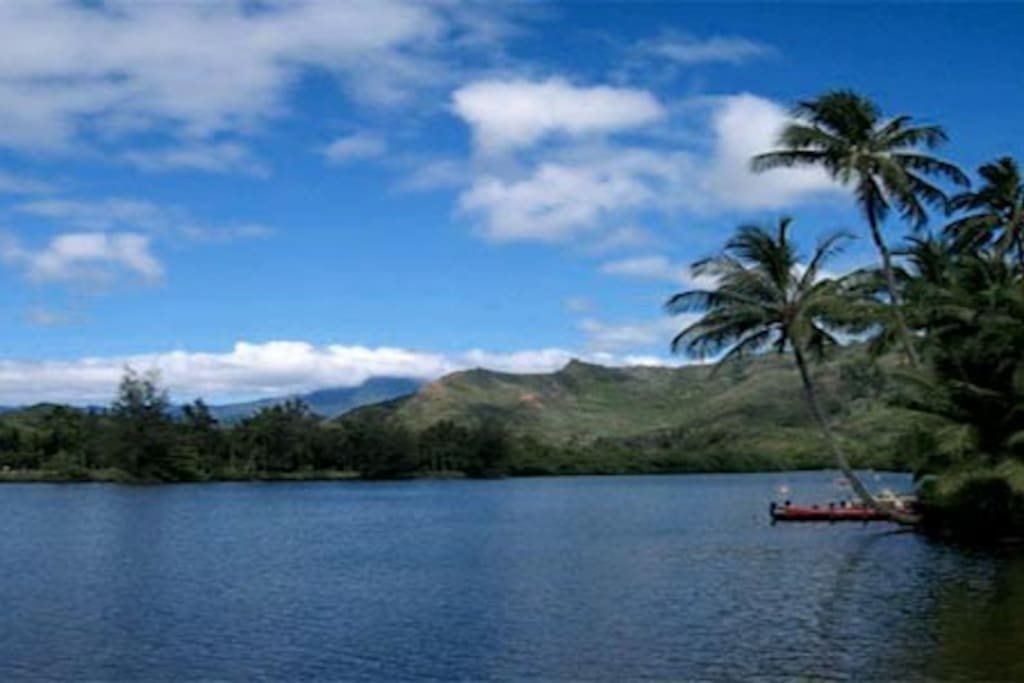 This is the view from the Wailua Beach looking towards where the Cottage's Dock is located.