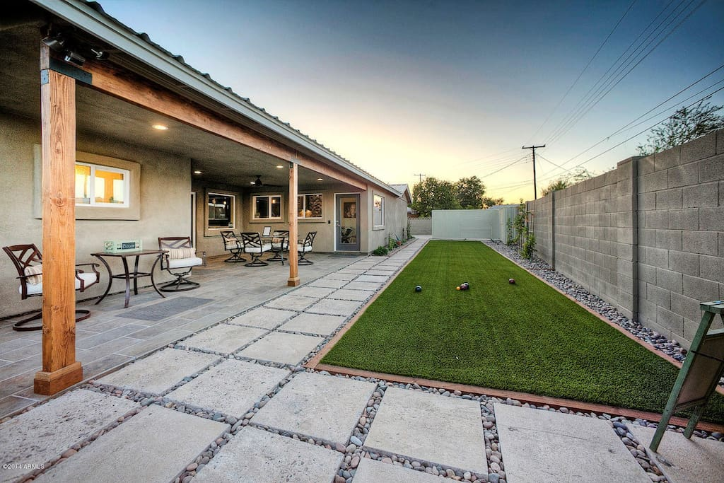 50' Bocce Ball Court with Recycled 2' Concrete Pavers & Covered Dining Facing NORTH Cushions Red Now