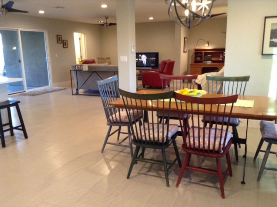 Dining Room to Great Room, (New Black Leather Sectional Now) 2 Recliners, Table Seats 10 with Leaves