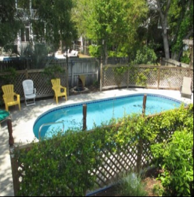 Private pool...fenced in with child-proof gates. Can be heated in cooler temps
