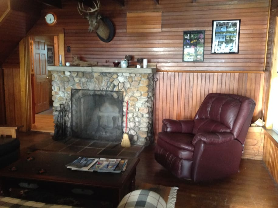 Enjoy a comfortable seat next to the fireplace!