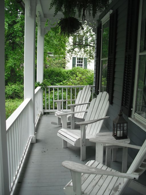 The front porch, looks out over woodland.