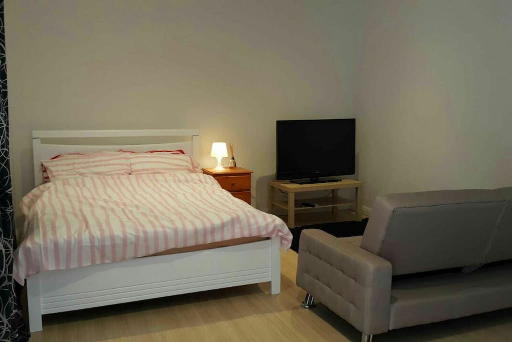 Queen size bed with sofa bed and 42In TV