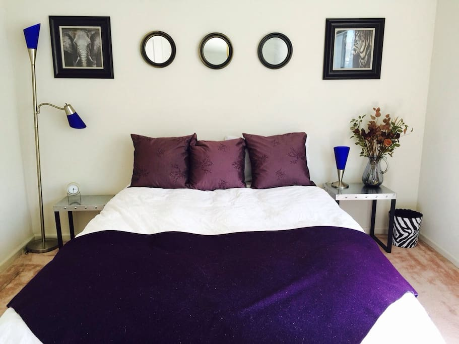 Queen size bed with down comforter and lots of closet space!