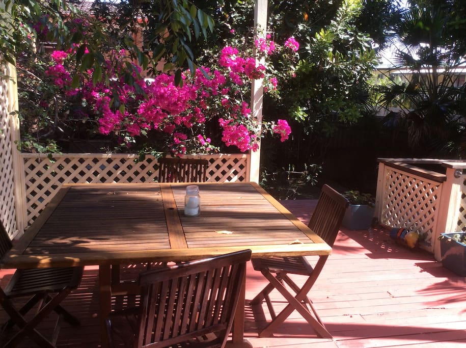 Guests are welcome to use both the front and back decks, both fully fenced and very safe for furry travel companions.
