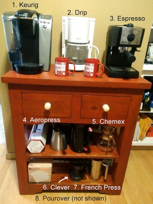 Coffee bar with 8 coffee brewing methods!