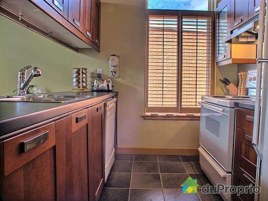 Full equiped kitchen including diswasher, microwave, coffee maker & starter supplies
