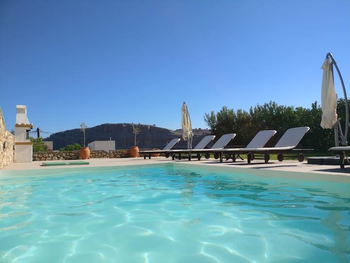 Villa Lindian Sun private pool relaxing sea views
