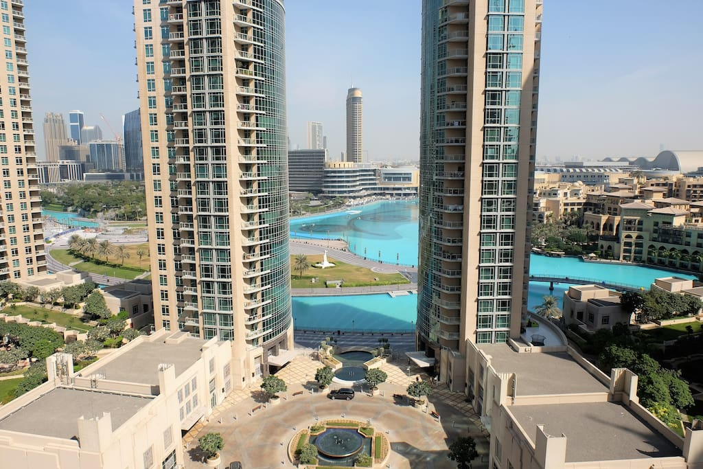 View of the Fountains from the living room balcony