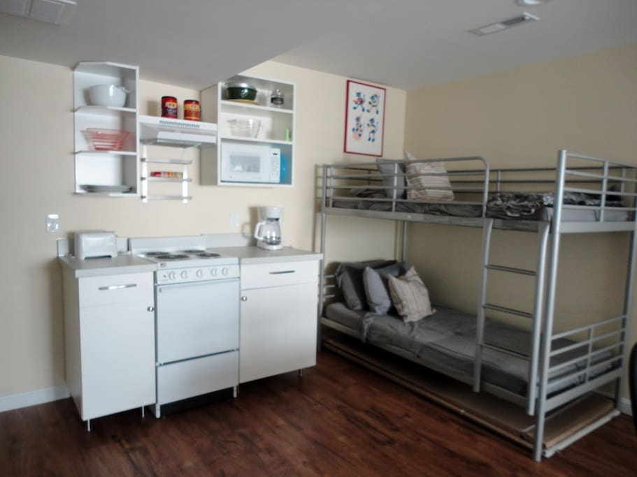 Bunk Area open in kitchen/living/dining space