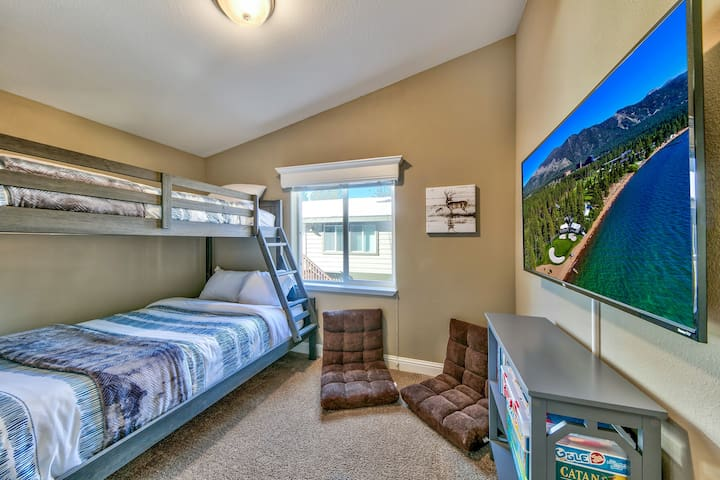 """Upper Level """"Deer"""" Bunk Room with Twin Bed on Top and Double Bed on Bottom (top bunk for kids only please- 100 lb. max)"""