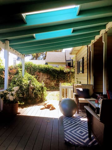 The back porch is perfect for the summertime.