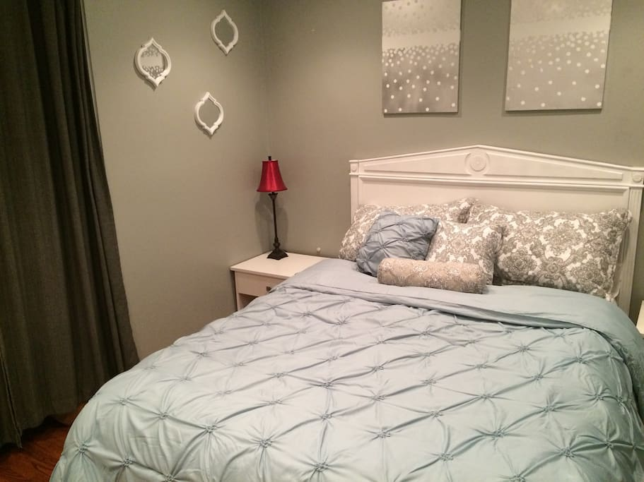 Queen Bed comfortably fits two. Plenty of closet and drawer space.