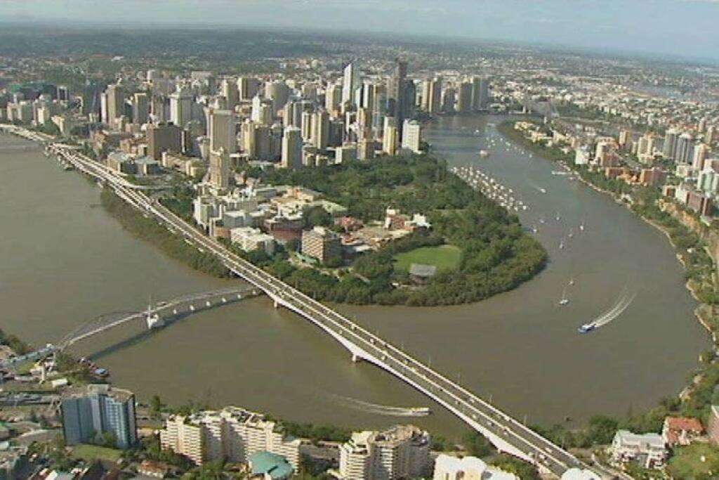 A bird's eye view of the river city of Brisbane